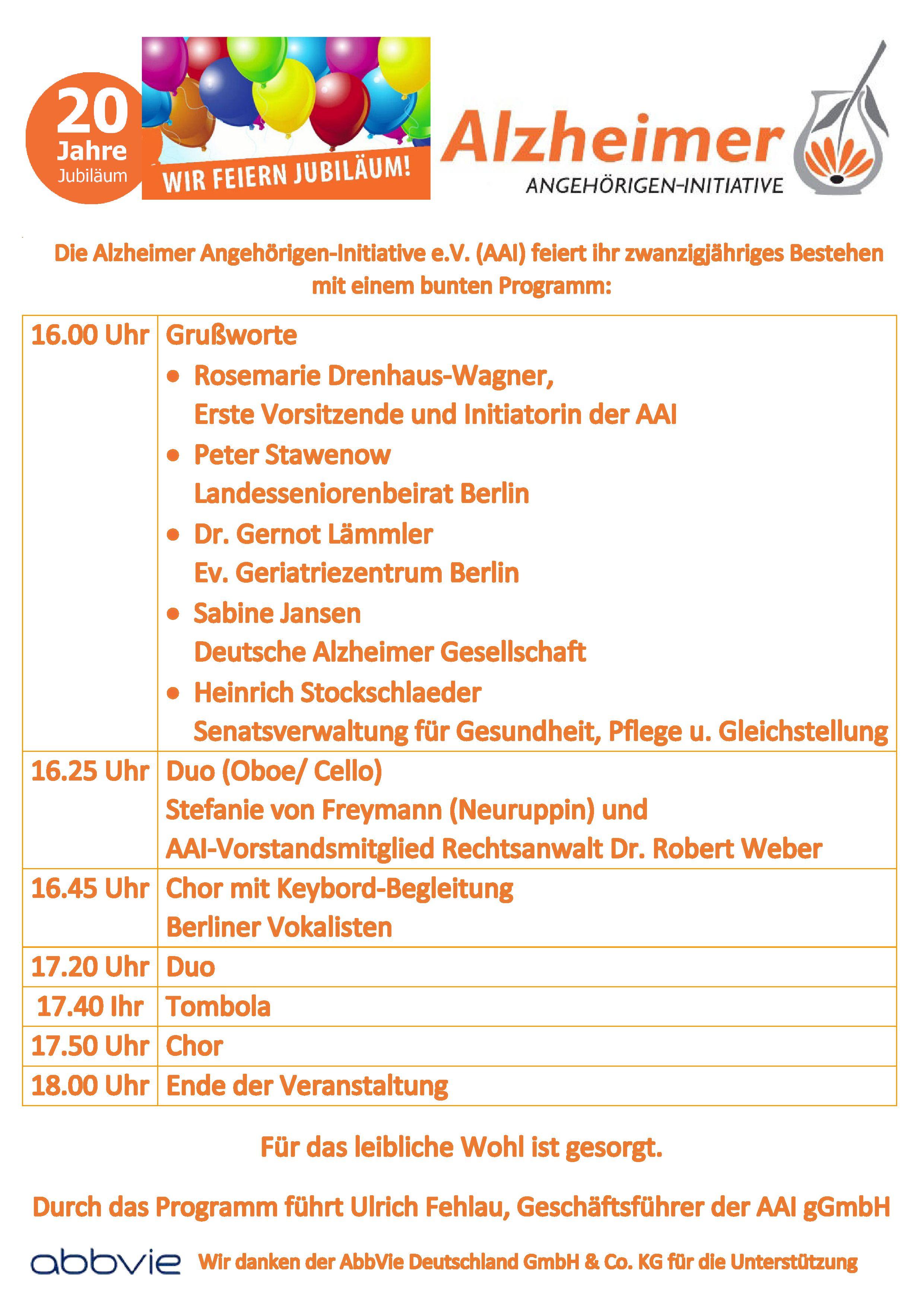 Programm zur Jubiläumsfeier 20 Jahre Alzhimer Angehörigen-Initiative e.V.